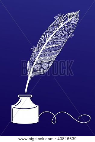 Decorative writing feather