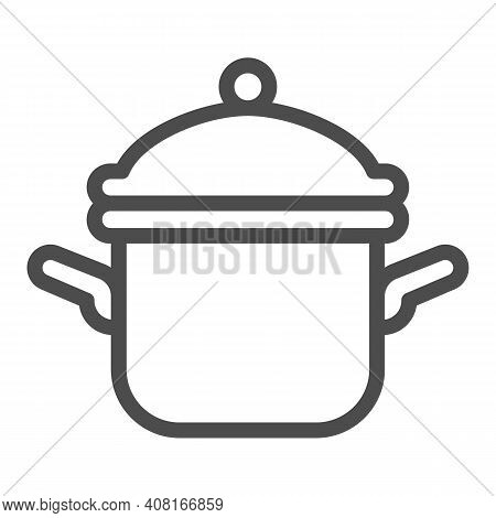Pot With Lid Line Icon, Thanksgiving Day Concept, Casserole Sign On White Background, Saucepan Icon