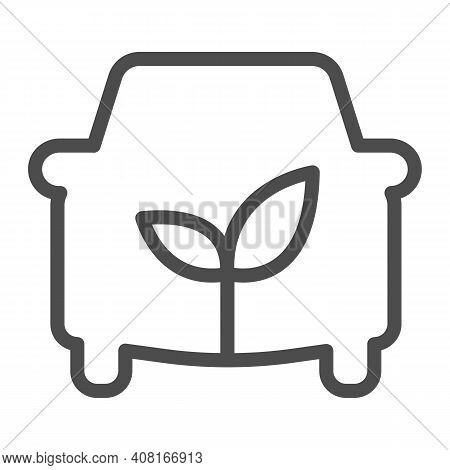 Car And Sprout Line Icon, Electric Car Concept, Ecological Car Sign On White Background, Automobile