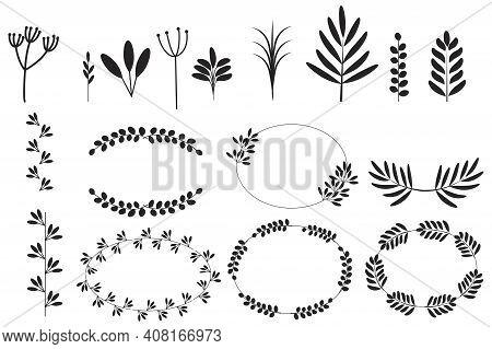 Spikelets Set In Linear Style. Sketch Botanical Illustration. Decorative Element. Wedding Design. St