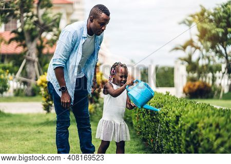 Portrait Of Enjoy Happy Love Black Family African American Father And Little African Girl Child Smil