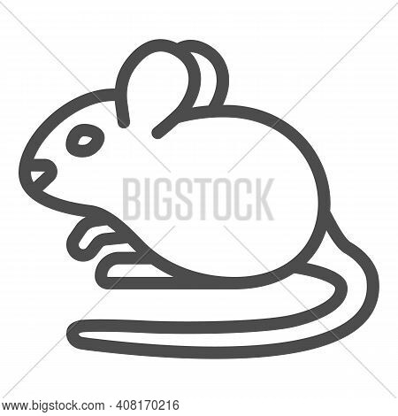 Mouse Line Icon, Domestic Animals Concept, Rat Sign On White Background, Mouse Silhouette Icon In Ou