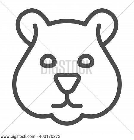 Hamster Head Line Icon, Domestic Animals Concept, Rodent Silhouette Sign On White Background, Hamste