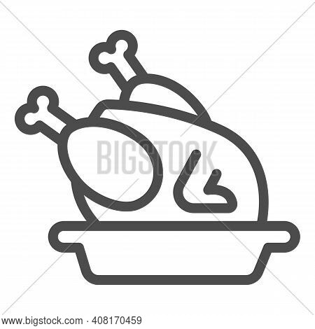 Roasted Turkey In Plate Line Icon, Thanksgiving Day Concept, Roasted Chicken Sign On White Backgroun