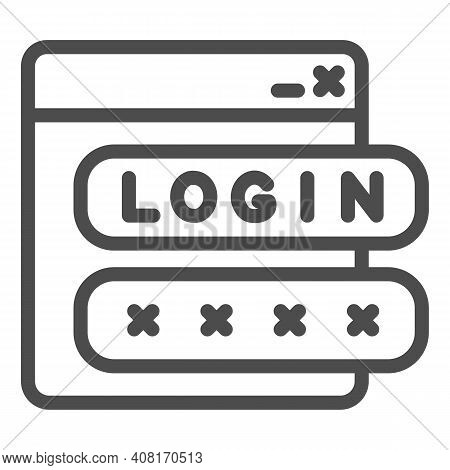 Webpage With User Authorization Line Icon, Web Security Concept, Login Form Sign On White Background