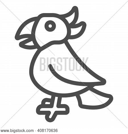 Parrot Line Icon, Domestic Animals Concept, Macaw Bird Sign On White Background, Tropical Parrot Ico