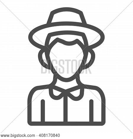 Farmer Boy Line Icon, Thanksgiving Day Concept, Peasant In Hat Sign On White Background, Character O