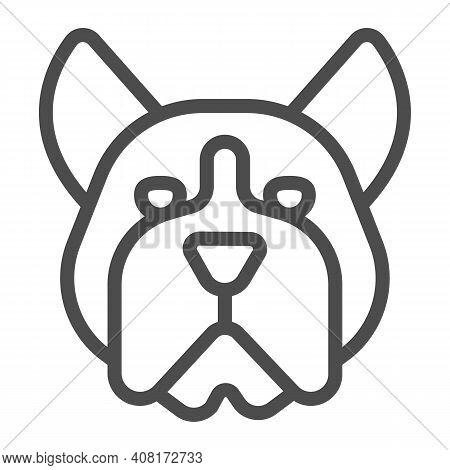 Bulldog Head Line Icon, Domestic Animals Concept, Dog Sign On White Background, Angry Bulldog Head I
