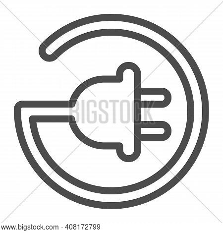 Cord With Plug In Circle Shape Line Icon, Electric Car Concept, Electric Plug Sign On White Backgrou