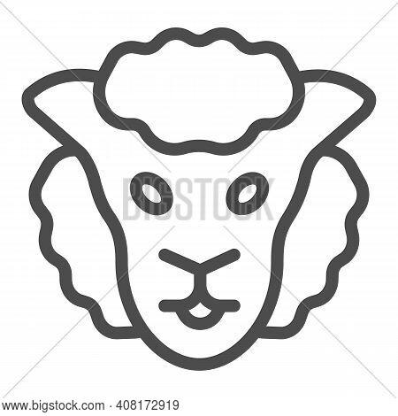 Sheep Head Line Icon, Domestic Animals Concept, Lamb Sign On White Background, Sheep Portrait Icon I