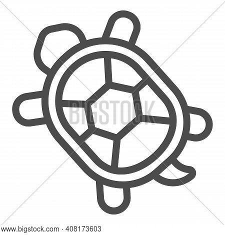 Turtle With Hard Shell Line Icon, Domestic Animals Concept, Tortoise Sign On White Background, Turtl