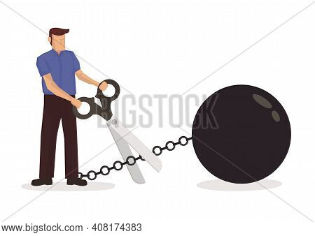 Man Holding Scissors To Cut Metal Chain. Concept Of Debt Free Or Cutting Away Bad Habit. Flat Vector
