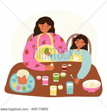 A Mother And A Daughter Easter Pastime Scene. Woman Teaches Her Little Girl To Decorate Easter Eggs