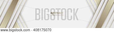Wide White Abstract Luxury Background With Golden Lines And Shadows. Light Modern Wide Banner With G