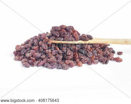 Raisin With Spoon Wooden Isolate On White Background, Currant,raisin Sec, Black Corinth, Zante Curra