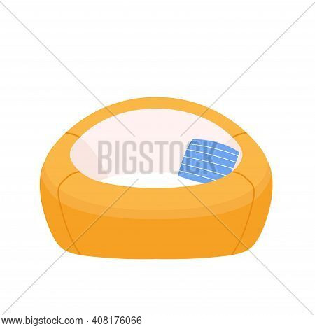 Stylish Yellow Round Comfortable Flat Karton Style Armchair With Blue Cushion. Part Of The Interior
