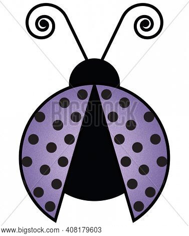Purple Ladybug with Curly Antena and Polka Dot Wings Illustration on White Background with Clipping Path for Sublimation Projects
