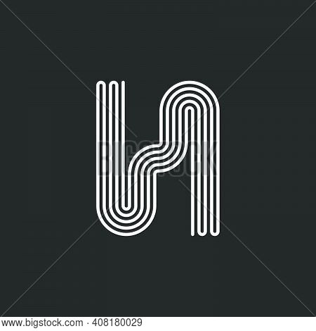 Letter H Logo Monogram Continuous Mono Line Creative Design, Hipster Initial Typography Design Inspi