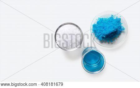Inorganic Chemical On White Laboratory Table. Copper(ii) Sulfate, Microcrystalline Wax, Alcohol. Che