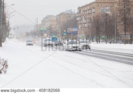 13.02.2021, Russia, Moscow. Snowdrift, Untreated Roads After Snowfall. Empty Roads.