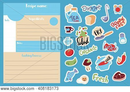 Cartoon Recipe Card Template And Food Cooking Stickers. Cook Book Page Vertical Format A5 Size. Kids
