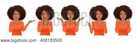Surprised Shocked African Woman With Different Gestures And Open Mouth Isolated Vector Illustration
