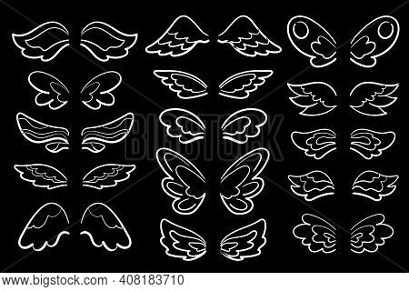 Chalk Wing White Line Art, Vector Illustration On Black Background. White Wing Of Angel, Muse, Sorce