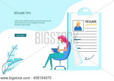 Landing Webpage Template Of Work Hiring Concept For Recruitment Agency. Tiny Man Select A Resume For