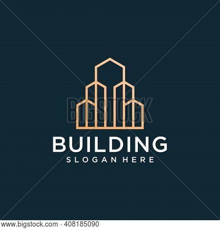 Real Estate Skyscraper Logo Design Template. Good For Icon, Brand, Identity, Monogram, Creative, And