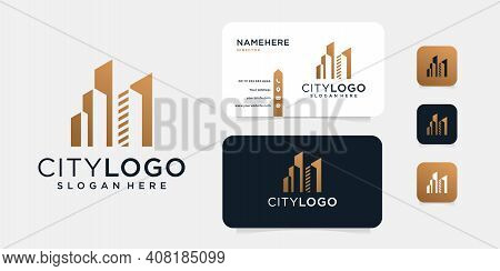Luxury Building Logo Design With Business Card Template. Good For Icon, Brand, Identity, Real Estate