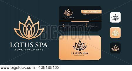 Luxury Monogram Lotus Spa Logo Design Variations With Business Card Template. Logo Can Be Used For I