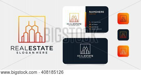 Inspirational Real Estate Building Logo And Business Card Template. Good For Brand, Identity, Icon,