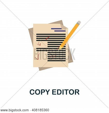 Copy Editor Flat Icon. Color Simple Element From Freelance Collection. Creative Copy Editor Icon For