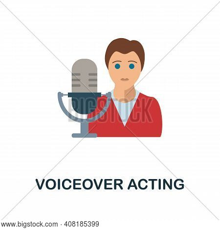 Voiceover Acting Flat Icon. Color Simple Element From Freelance Collection. Creative Voiceover Actin