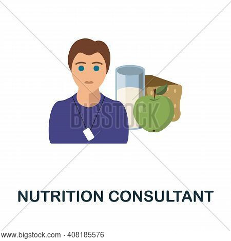 Nutrition Consultant Flat Icon. Color Simple Element From Freelance Collection. Creative Nutrition C