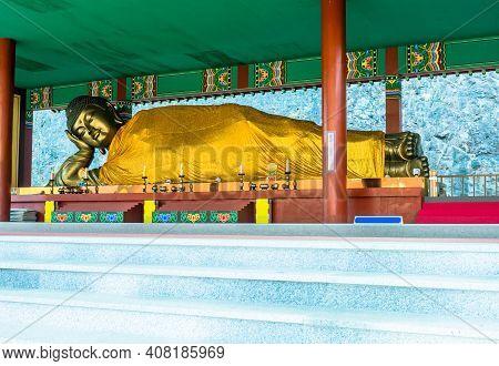 Thirteen Meter Long Reclining Buddha At Manbulsa Temple In Yeongcheon, South Korea.