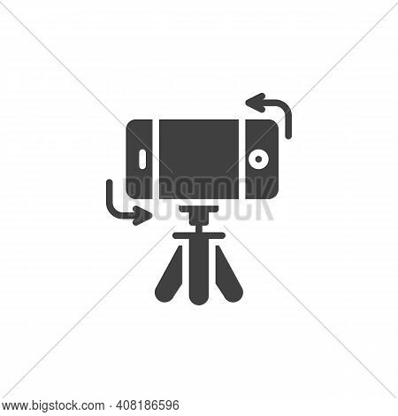 Mobile Phone Rotation Vector Icon. Filled Flat Sign For Mobile Concept And Web Design. Tripod With S