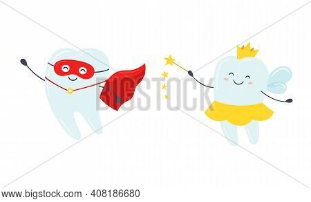 Children Tooth Fairy And Superhero. Cute Tooth With Wings, A Crown And A Magic Wand. Happy Healthy T