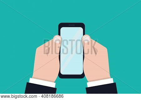 Hands Holding A Smartphone. Close-up Of A Blank Mobile Phone Screen In The Hands Of A Person On A Gr