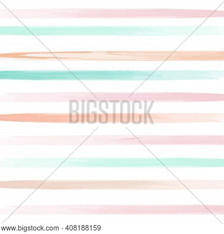 Watercolor Horizontal Stripes In Pastel Color. Background For Children's Paper, Fabric. Vector Illus