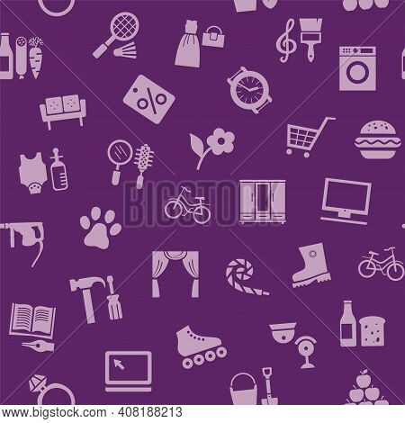 Shops, Seamless Pattern, Color, Purple, Vector. Different Categories Of Goods. Purple Icons On A Pur