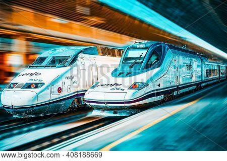 Modern Hi-speed Passenger Train Of Spanish Railways Company - Renfe, In  Movement (motion).