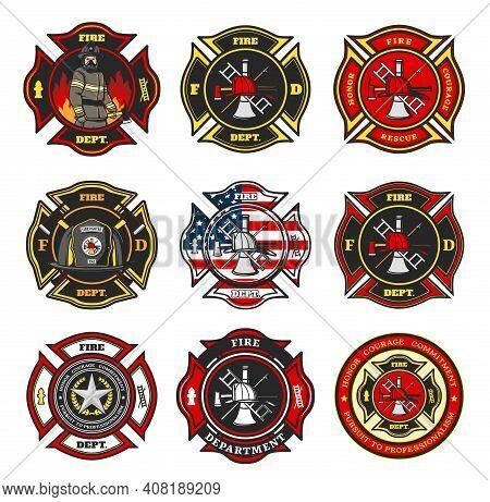 Fire Department Badges, Firefighter Team Cross Shaped Emblems With Fireman In Uniform, Helmet And Ga