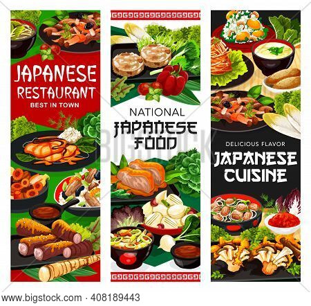 Japanese Food Restaurant Dishes Banners. Burdock Root, Yellowtail Fish And Pork Fried In Miso, Temar