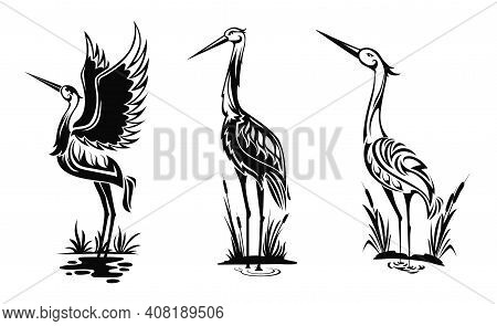 Heron Or Wader Birds Vector Icons, Black Hern Silhouettes Stand In Swamp Water With Reeds Isolated O