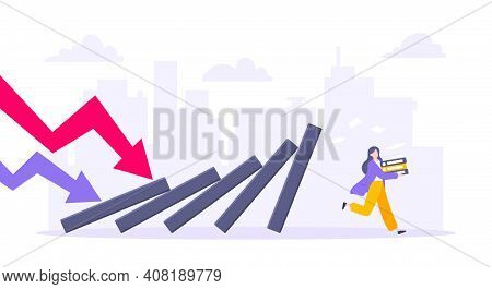 Domino Effect Or Business Resilience Metaphor Vector Illustration Concept. Adult Young Businesswoman