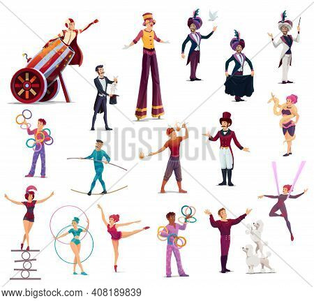 Circus Cartoon Characters Vector Performers, Top Tent Artists Clown, Acrobat And Man Cannon Ball. Tr