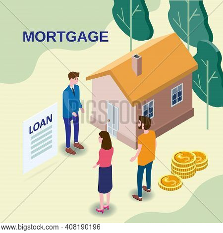 House Mortgage Concept, Characters Couple Buying Estate Invest Money, Rieltor Agent Estate Offer Mor