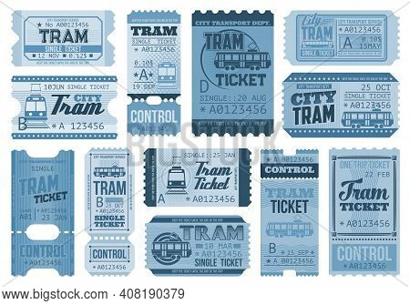 Tram Tickets Retro, City Public Transport And Rail Vehicles Trip Vector Coupons. Vintage One Way And