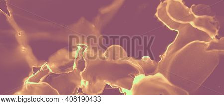 Gold Background. Orange Volcanic Splash. Brown Heat Molten Abstraction. Red Hell Artistic Mineral. I